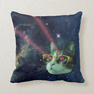 Laser cat with glasses in space pillows