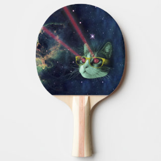 Laser cat with glasses in space ping pong paddle