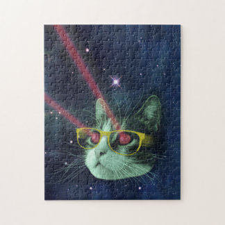 Laser cat with glasses in space puzzle