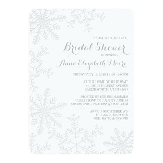 Laser Cut Silver Snowflakes Winter Bridal Shower Card
