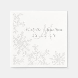Laser Cut Silver Snowflakes Winter Wedding Napkin Paper Napkins