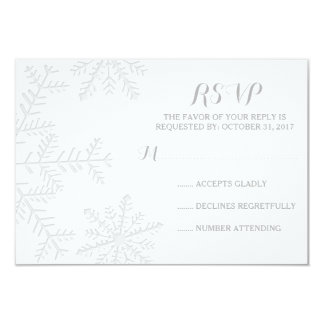 Laser-Cut Snowflakes Elegant Winter Wedding RSVP Card