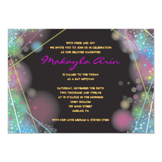 LASER GLOW in the DARK Bar Bat Mitzvah Invitation