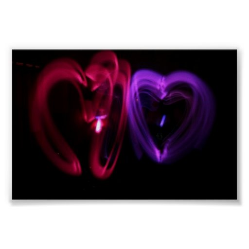 Laser Hearts Poster