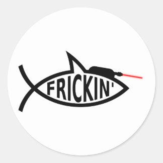 Laser Ichthys Classic Round Sticker