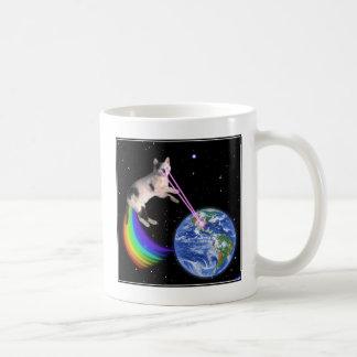 Laser Rainbow Space Cat Coffee Mug