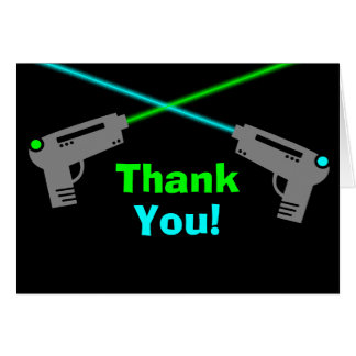 Laser Tag Blue Green Thank You Card