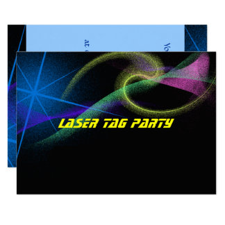 Laser Tag, Colorful, Birthday Party Invitation