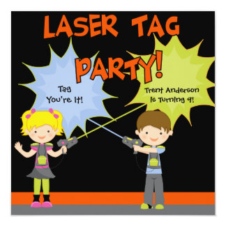 Laser Tag Party Birthday Invitations