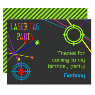 Laser Tag Party Birthday Thank You Cards