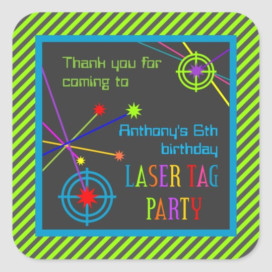 Laser Tag Party Birthday Thank You Stickers