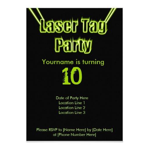 """Laser Tag Party Green Invitation 5"""" X 7"""" Invitation Card   Zazzle"""