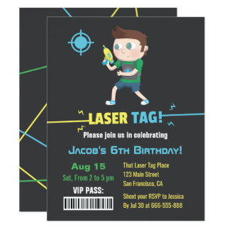 Laser Tag VIP Pass Boys Birthday Party Invitations