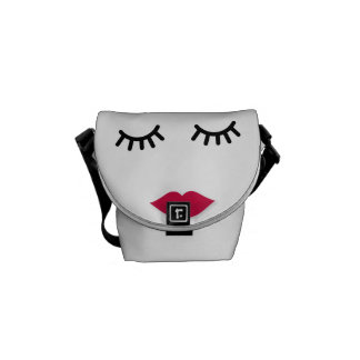 Lash and Red Lip Sweet Girl Portrait Courier Bags