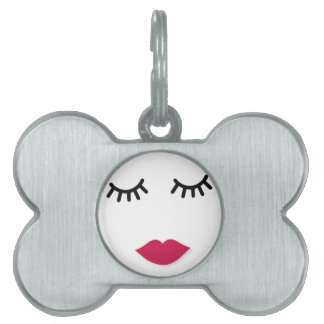 Lash and Red Lip Sweet Girl Portrait Pet Name Tag