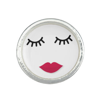 Lash and Red Lip Sweet Girl Portrait Rings