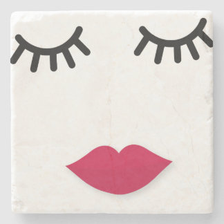 Lash and Red Lip Sweet Girl Portrait Stone Coaster