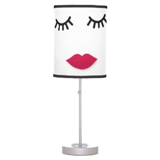 Lash and Red Lip Sweet Girl Portrait Table Lamp