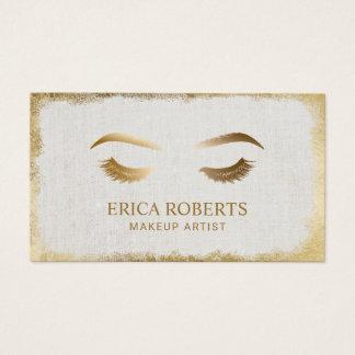 Lash & Brow Makeup Artis Modern Gold Grunge Frame Business Card