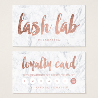 lash logo loyalty rose gold typography marble business card