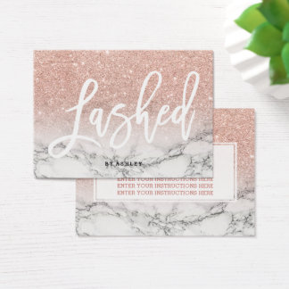 Lashed aftercare typography rose gold marble business card