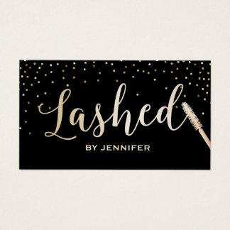 Lashed Makeup Artist Gold Script Gold Confetti Business Card