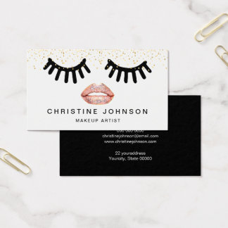lashes and pink lips on faux glitter makeup artist business card