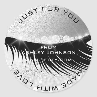 Lashes Beauty Diamond Eye Sparkly Gray Glitter Classic Round Sticker
