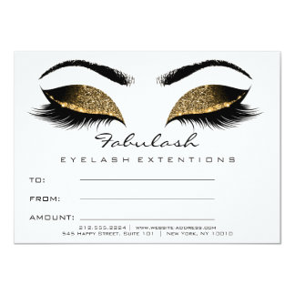 Lashes Browns Gold Makeup Certificate Gift White Card