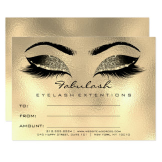 Lashes Browns Wax Gold Makeup Certificate Gift SPA Card