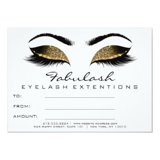 Lashes Browns White Makeup Artist Certificate Gift Card