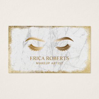 Lashes & Brows Makeup Artis Modern White Marble Business Card