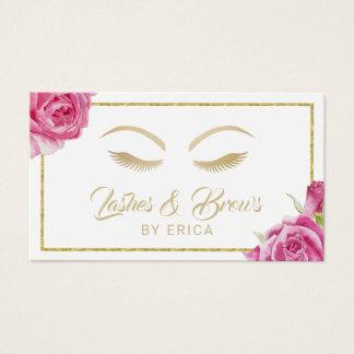 Lashes & Brows Makeup Artist Vintage Floral Business Card