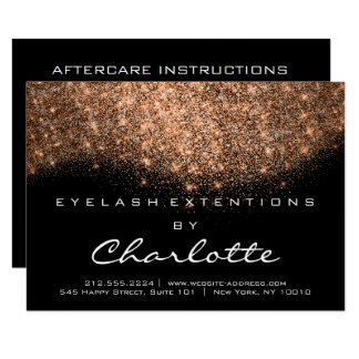 Lashes Extension Aftercare Instruction Copper Blac Card