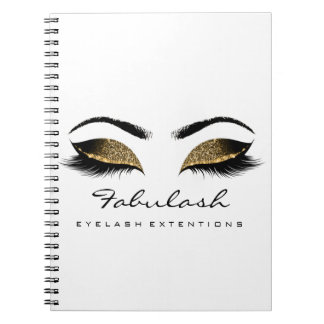 Lashes Extension Eye Makeup Artist Gold Chocolate Spiral Notebook