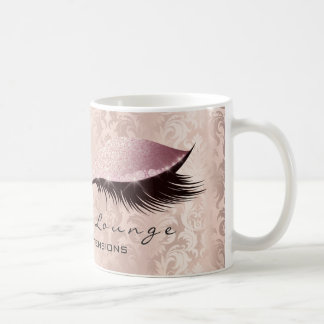 Lashes Extension Eye Makeup Damask Glitter Rose Coffee Mug