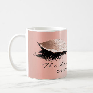 Lashes Extension Eye Makeup Studio Glitter Coral Coffee Mug