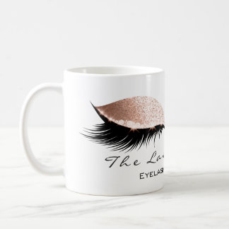Lashes Extension Eye Makeup Studio Glitter White Coffee Mug