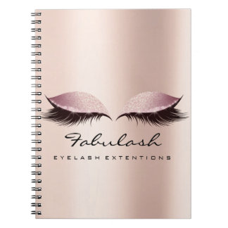 Lashes Extension Eyes Makeup Artist Rose Gold Pink Notebook