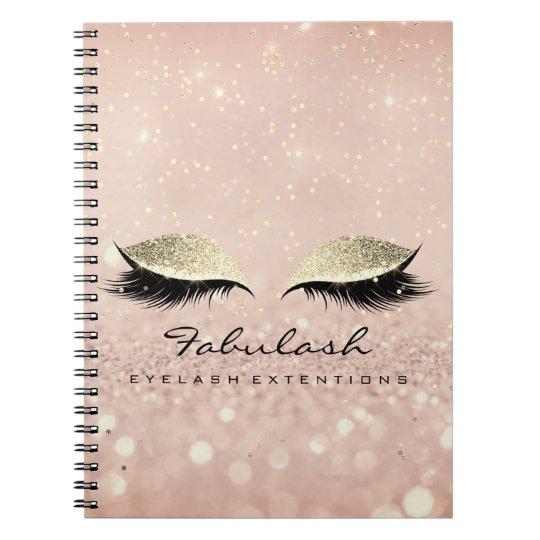 Lashes Extension Glitter Eyes Makeup Artist Rose Notebook