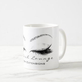 Lashes Extention Beauty Makeup Silver WhiteGlitter Coffee Mug