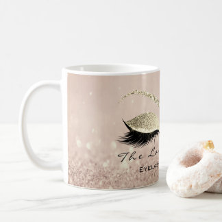Lashes Extention Beauty Studio Body Gold Glitter Coffee Mug