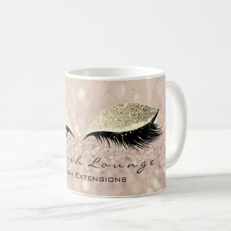 Lashes Extention Beauty Studio Makeup Gold Glitter Coffee Mug
