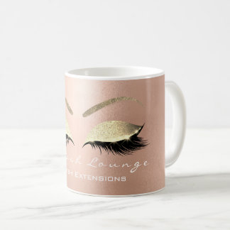 Lashes Extention Beauty Studio Rose  Gold Glitter Coffee Mug