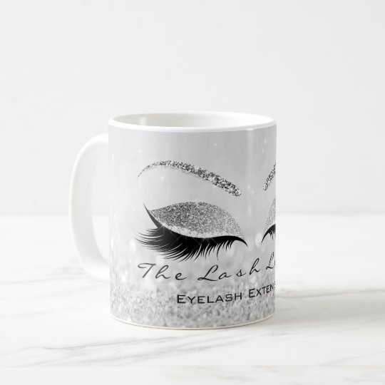 Lashes Extention Beauty Studio Silver Grey Glitter Coffee Mug