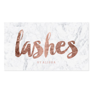 Lashes eye modern faux rose gold typography marble business card