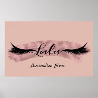 Lashes Eyelashes Rose Gold Blush Pink Beauty Salon Poster