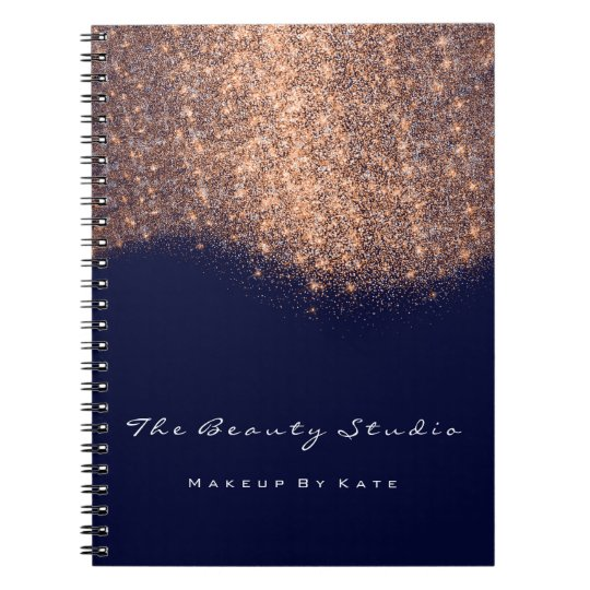 Lashes Eyes Makeup Artist Copper Blue Navy Glitter Notebook