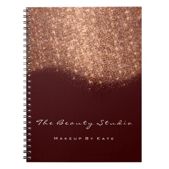 Lashes Eyes Makeup Artist Copper Maroon Glitter Notebook