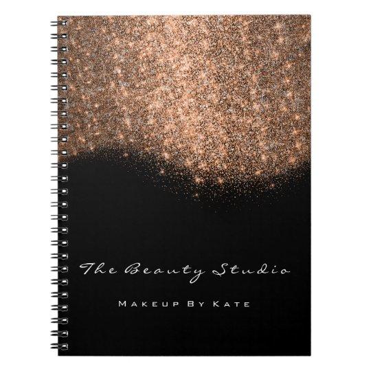 Lashes Eyes Makeup Artist Copper Rose Glitter Notebook